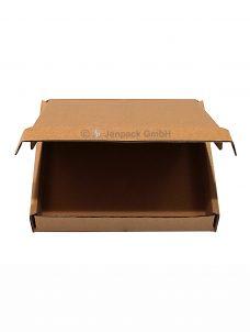 Klappdeckelkarton 350x255x65 mm braun, einwellig, Frontansicht