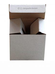 Tassenverpackung mit Halterung, 75x50x72 mm, weiß, Vorderansicht