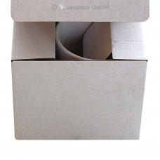 Tassenverpackung, weiß, einwellig, ohne Sichtfenster, Vorderansicht