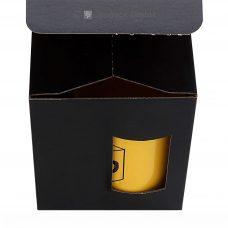Tassenverpackung 110x110x130mm, schwarz matt, mit Sichtfenster