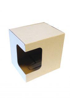 Tassenverpackung 112x98x101 mm, mit Eckfenster, weiß, Ansicht Eckfenster