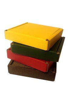 Faltschachtel, Maxibrief, alle Varianten, rot, grün, gelb, schwarz mit Welle außen