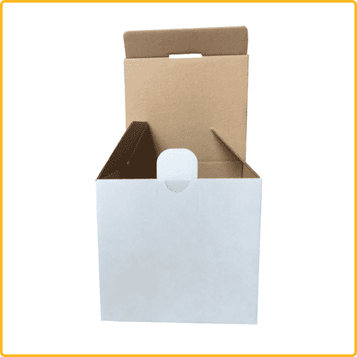 112x98x101 Tassenverpackung weiß mit Sicherheitsverschluss