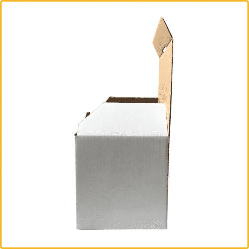 112x98x101 Tassenverpackung weiß mit Sicherheitsverschluss Seitenansicht