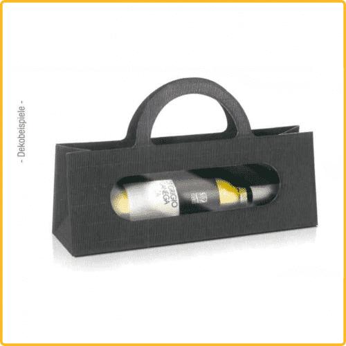 Tragetasche für Flachen aus Wellpappe, Flasche ist liegend mit Sichtfenster, in schwarz