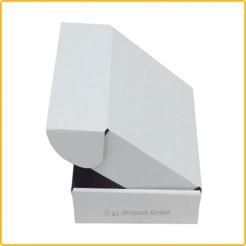 150x130x55 Klappdeckelschachtel weiß seitenansich