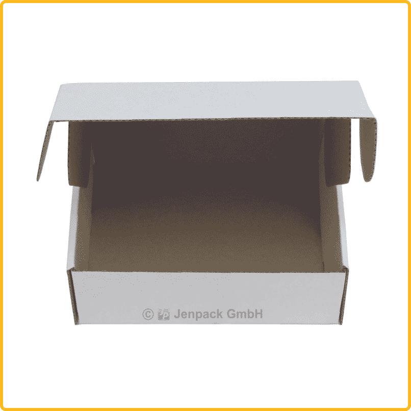 150x130x55 Klappdeckelschachtel weiß vorderansicht