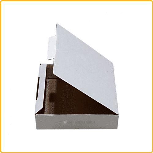 150x157x40 Klappdeckelschachtel weiß seitenansicht