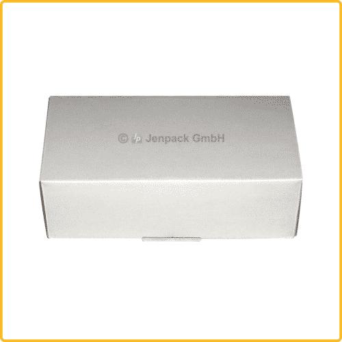 225x110x70 Faltkarton mit Adhäsionsverschluss zum aufreissen weiß rueckansicht