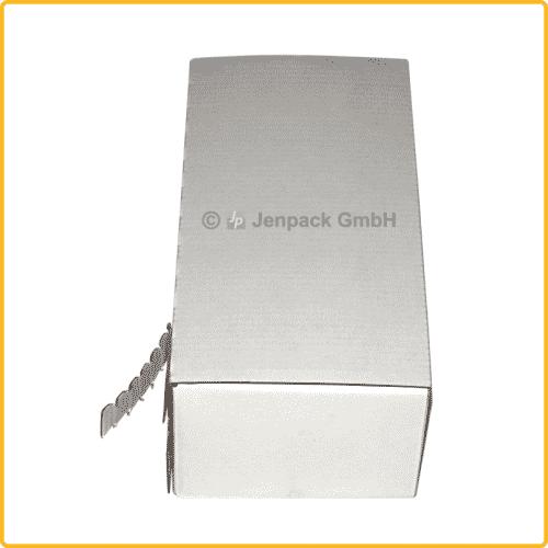 225x110x70 Faltkarton mit Adhäsionsverschluss zum aufreissen weiß seitenansicht