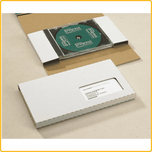 225x125x12 CD Mailer mit Jewelcase weiss mit Selbstklebeverschluss und aufreissfaden