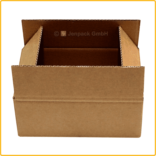 440x185x75 Faltkarton hoehenverstellbar zwischenrillung variable hoehe braun front