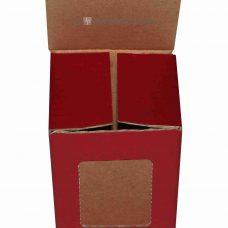 Tassenverpackung rot mit Sichtfenster, Vorderansicht