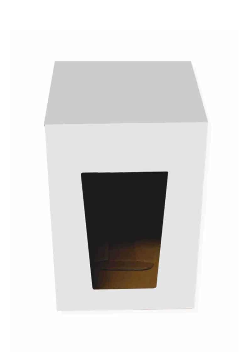 Becherverpackung mittel weiss 90x90x125 mm mit Sichtfenster