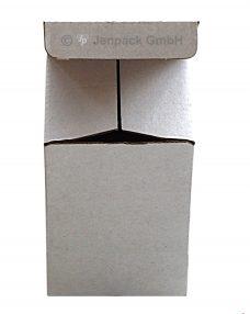 Steckkarton 55x55x80 mm, weiß, einwellig, Frontansicht