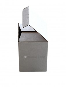 Steckbodenschachtel 50x50x57mm, weiss, 1-wellig, Seitenansicht