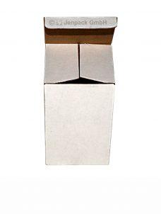 Faltschachtel, einwellig, 80x80x128mm, weiß, Vorderansicht