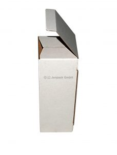 Faltschachtel, einwellig, 80x80x228mm oder 55x55x150mm, weiß, Seitenansicht, Flaschenverpackung