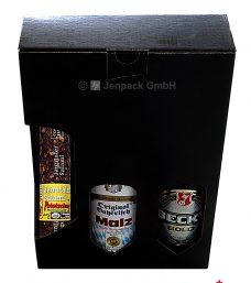 Geschenkverpackung für Bierflaschen, schwarz, Vorderansicht