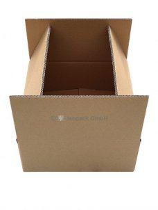 Karton, Faltschachtel in braun, Ansicht geöffneter Karton