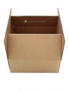 Karton, Faltschachtel in braun, Ansicht geöffneter Karton, Seite