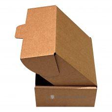 Klappdeckelkarton 203x172x88 mm, braun, Seitenansicht