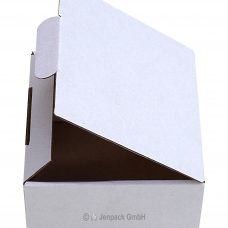 Klappdeckelschachtel 100x100x65 mm, weiß, Seitenansicht