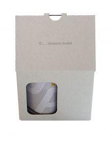 Tassenverpackung 120x85x105 mm, weiß, mit Sichtfenster, Vorderansicht